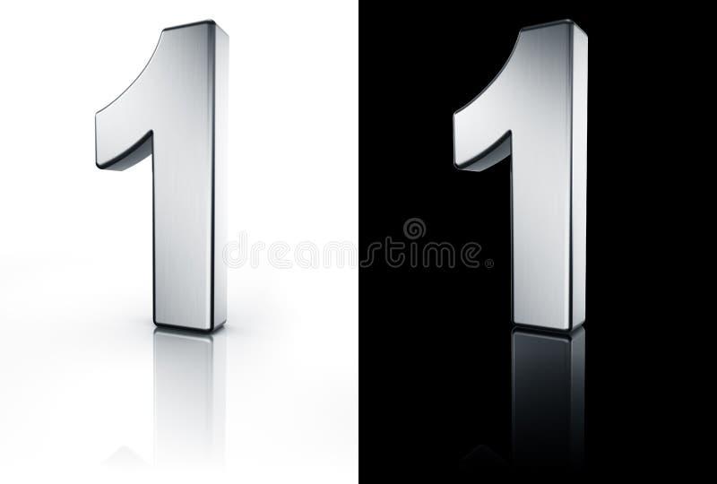 Il numero 1 sul pavimento bianco e nero illustrazione vettoriale