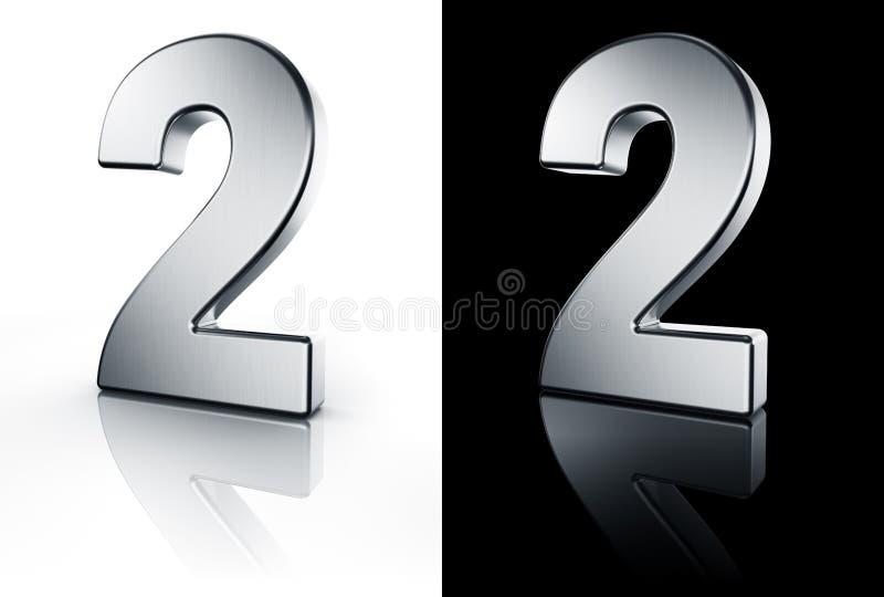 Il numero 2 sul pavimento bianco e nero illustrazione vettoriale