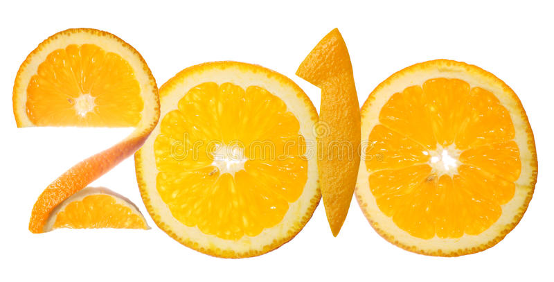 Il numero 2010 ha fatto delle fette arancioni fotografie stock