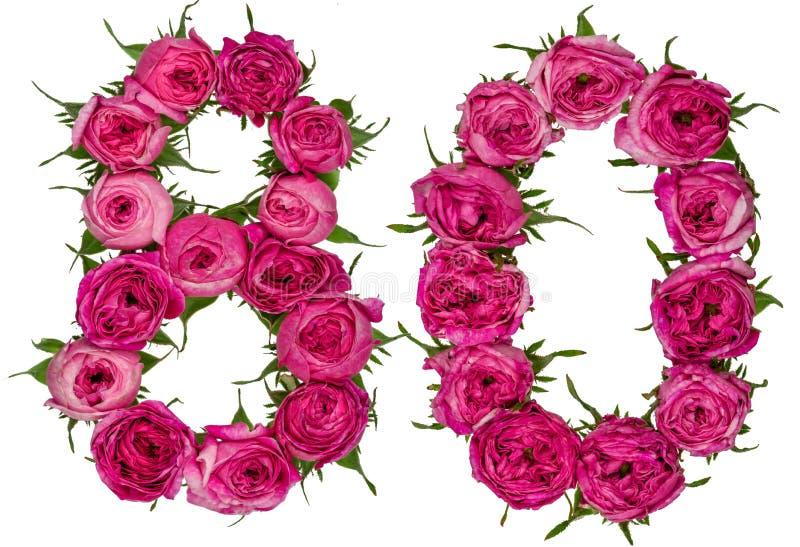 Il numero arabo 80, ottanta, dai fiori rossi di è aumentato, isolato sopra immagini stock