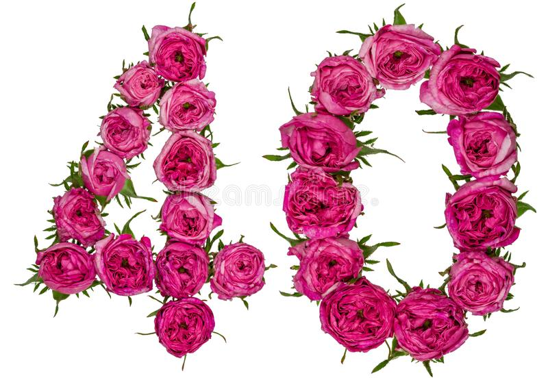 Il numero arabo 40, quaranta, dai fiori rossi di è aumentato, isolato sopra immagine stock libera da diritti
