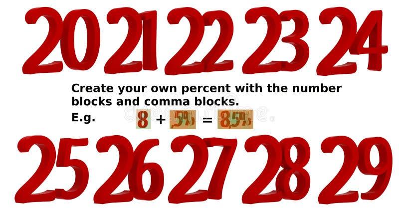 il numero dell'illustrazione della rappresentazione 3D ha messo 20-29 per creare le vostre proprie percentuali illustrazione di stock