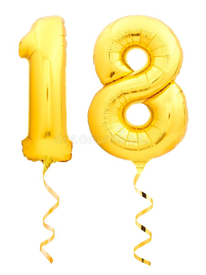 Il numero dorato 18 diciotto ha fatto del pallone gonfiabile con il nastro isolato su bianco immagine stock