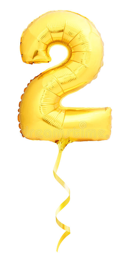 Il numero dorato 2 ha fatto del pallone gonfiabile fotografia stock libera da diritti