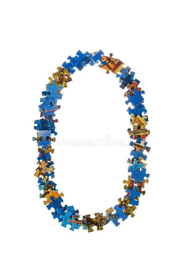 Il numero 0 ha fatto dei pezzi di puzzle immagine stock libera da diritti