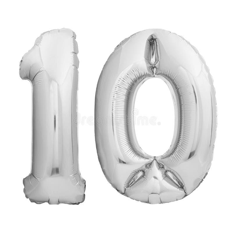 Il numero 10 ha fatto del pallone gonfiabile d'argento isolato su bianco royalty illustrazione gratis