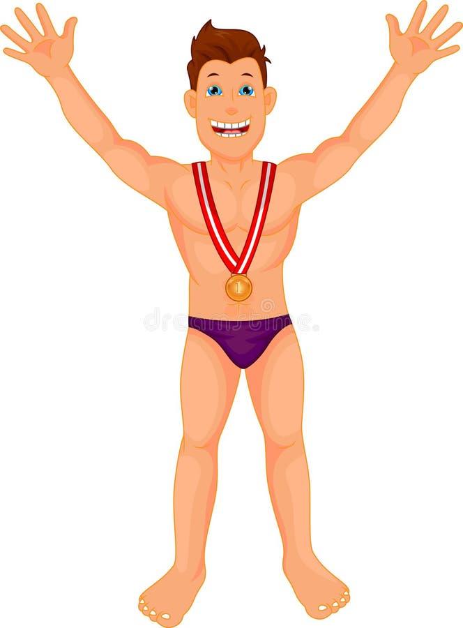 Il nuotatore del ragazzo celebra la sua medaglia dorata royalty illustrazione gratis