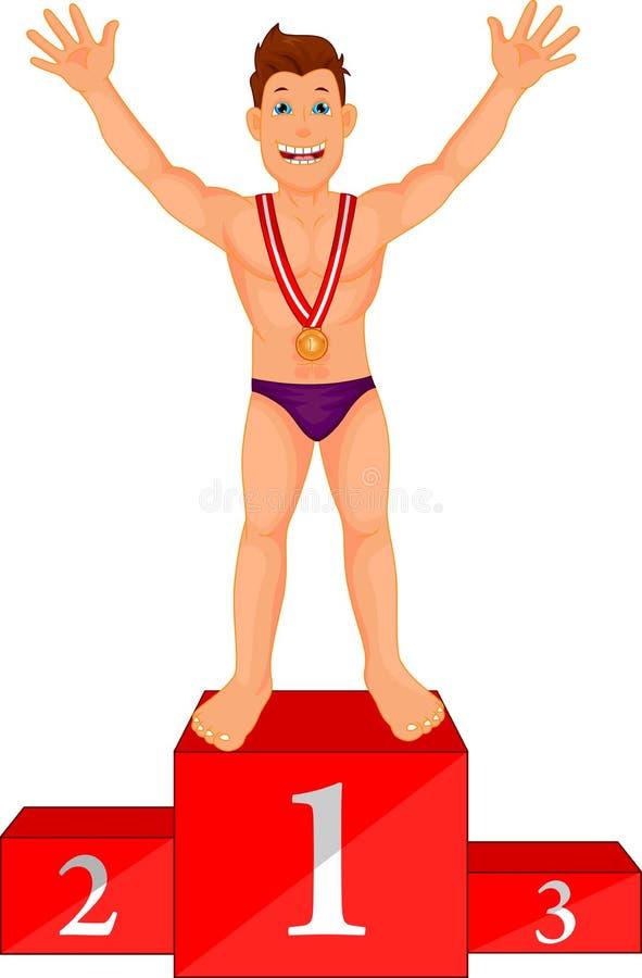 Il nuotatore del ragazzo celebra la sua medaglia dorata sul podio royalty illustrazione gratis