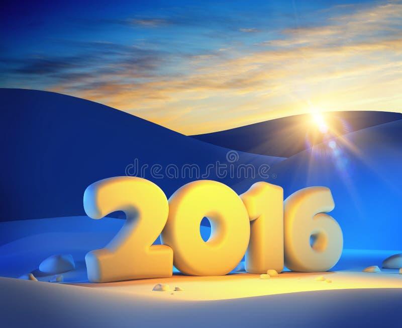 Il nuovo anno 2016, 3d rende illustrazione di stock