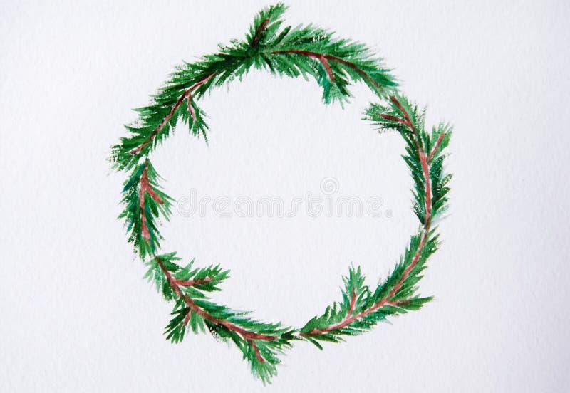 Il nuovo anno ed il Natale avvolgono - l'albero di abete su backg bianco immagine stock