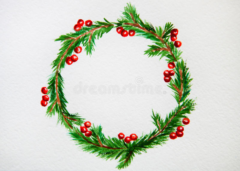 Il nuovo anno ed il Natale si avvolgono - albero e vischio di abete su bianco fotografia stock