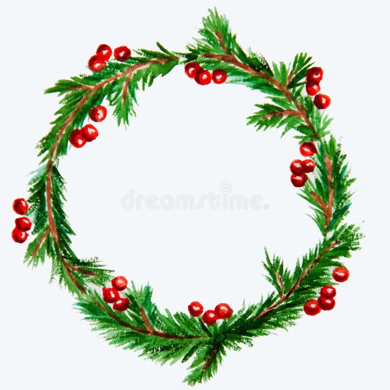 Il nuovo anno ed il Natale si avvolgono - albero e vischio di abete su bianco fotografia stock libera da diritti