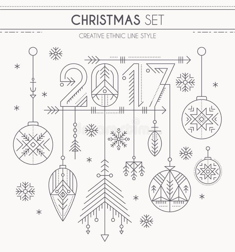 Il nuovo anno ha messo - le decorazioni d'attaccatura, 2017 firmano e fiocchi di neve illustrazione vettoriale