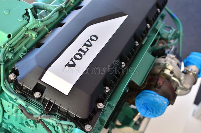 Il nuovo motore diesel verde Volvo Penta ha montato per i camion ed i bus fotografia stock