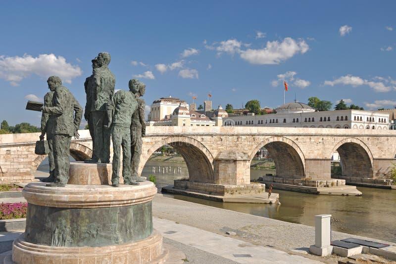 Il nuovo sguardo della città di Skopje, Macedonia immagine stock libera da diritti