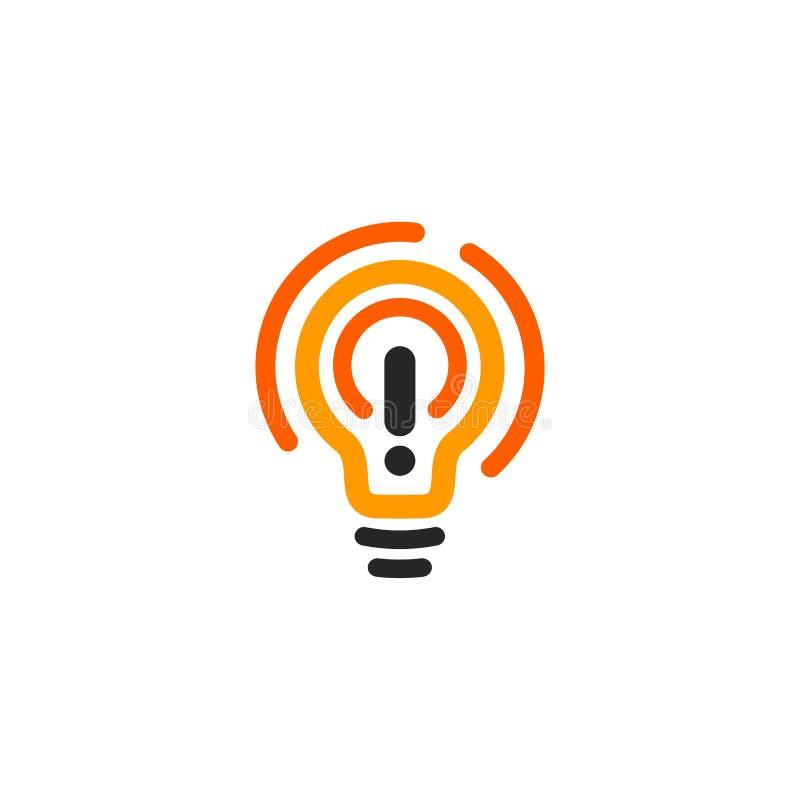 Il nuovo simbolo di idea ha stilizzato il logotype arancio e nero dell'icona delle lampadine di vettore, di colore, lampadina lum royalty illustrazione gratis