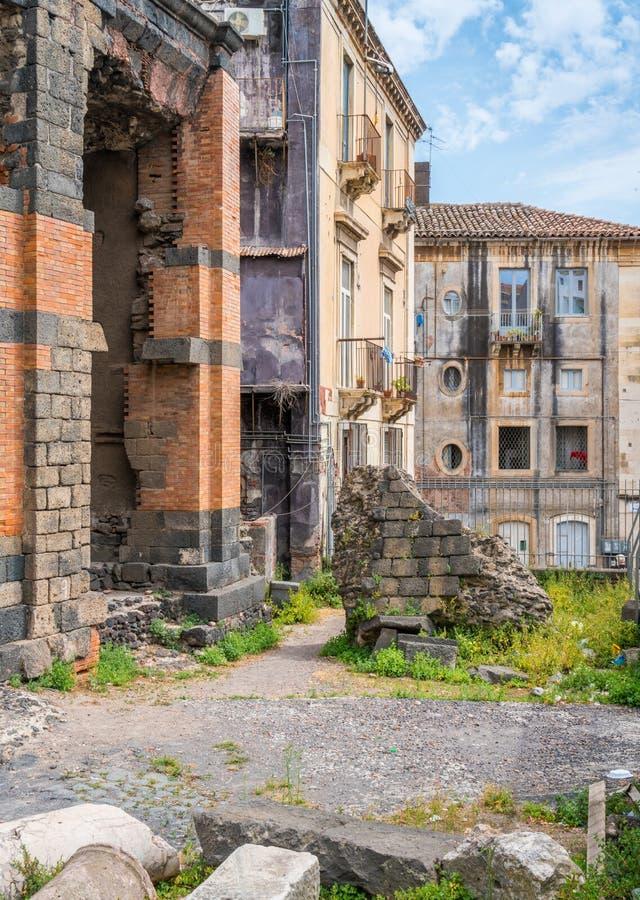 Il odeon al teatro romano a Catania, Sicilia immagini stock