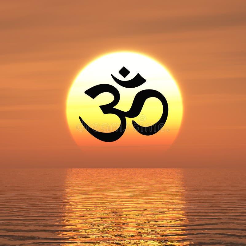 Il OM buddista firma al tramonto illustrazione vettoriale