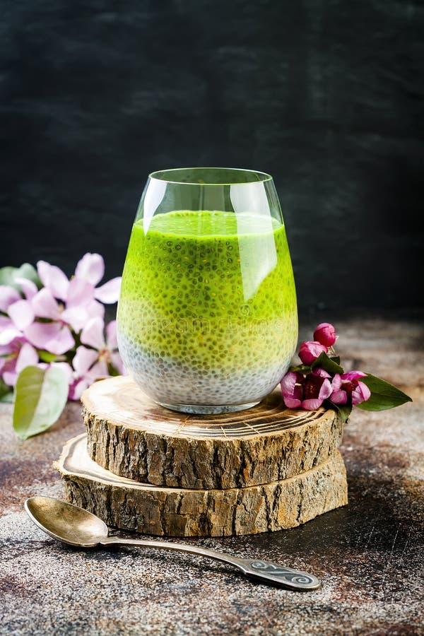 Il ombre della disintossicazione ha messo a strati il budino del seme di chia del tè verde di matcha Dessert del vegano con latte fotografia stock libera da diritti