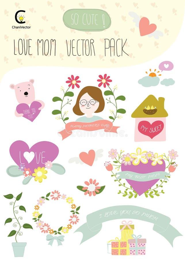 Il pacchetto felice di vettore di festa della mamma della mamma di amore comprende l'elemento per il deco illustrazione di stock