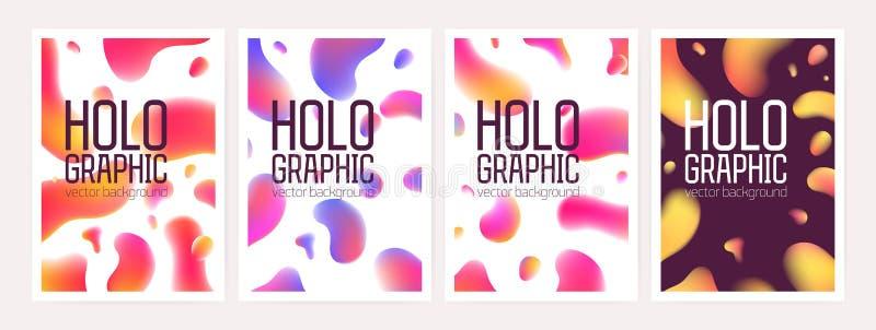 Il pacco degli ambiti di provenienza o contesti olografici verticali con le forme geometriche astratte o la pendenza ha colorato  illustrazione vettoriale