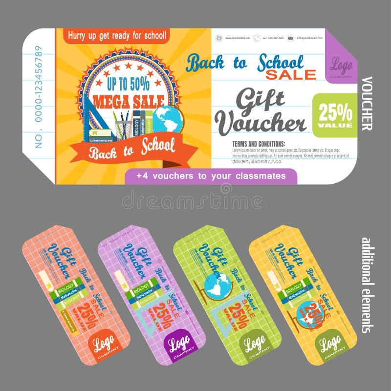 Il pacco del buono di regalo con gli elementi supplementari vector l'illustrazione per aumentare le vendite contro lo sfondo del  royalty illustrazione gratis