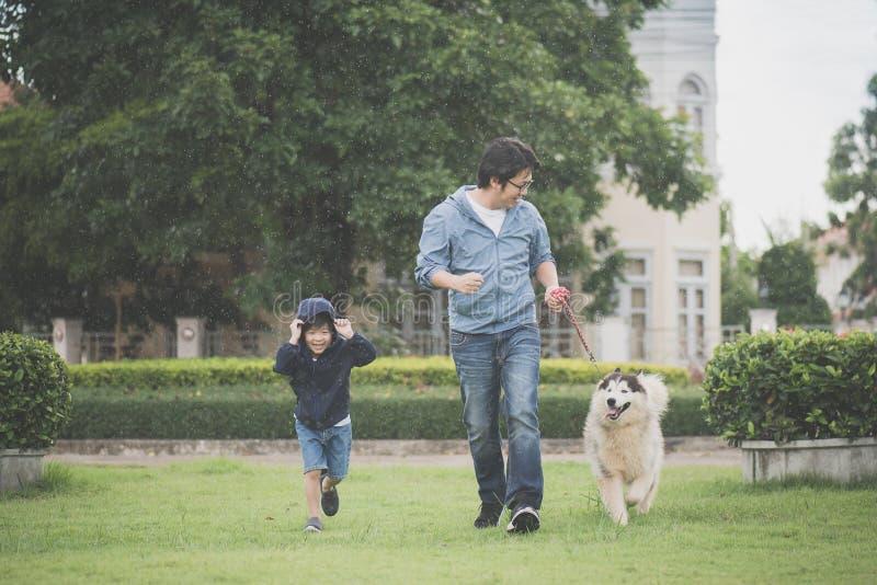 Il padre ed il figlio che camminano con un husky siberiano indossano nel parco fotografia stock