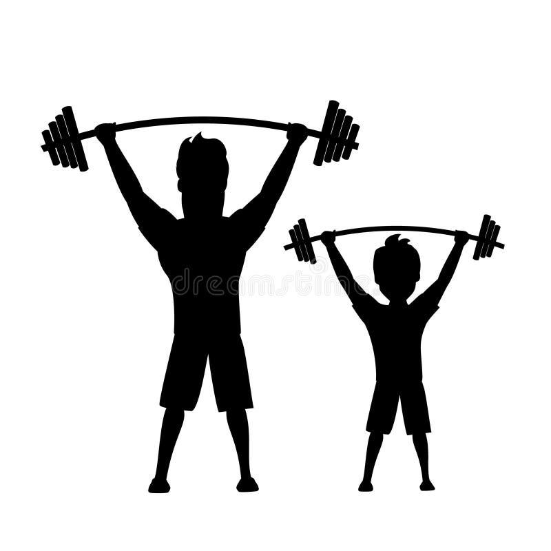 Il padre ed il figlio, l'uomo ed il ragazzo esercitanti insieme l'illustrazione di vettore hanno isolato la siluetta illustrazione vettoriale