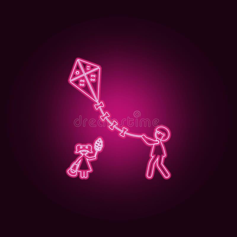 il padre tiene un'icona dell'aquilone Elementi della famiglia nelle icone al neon di stile E royalty illustrazione gratis