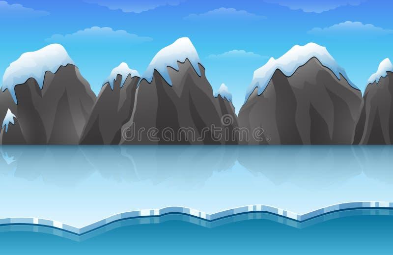 Il paesaggio artico del ghiaccio dell'inverno del fumetto con le montagne della neve e dell'iceberg oscilla le colline royalty illustrazione gratis