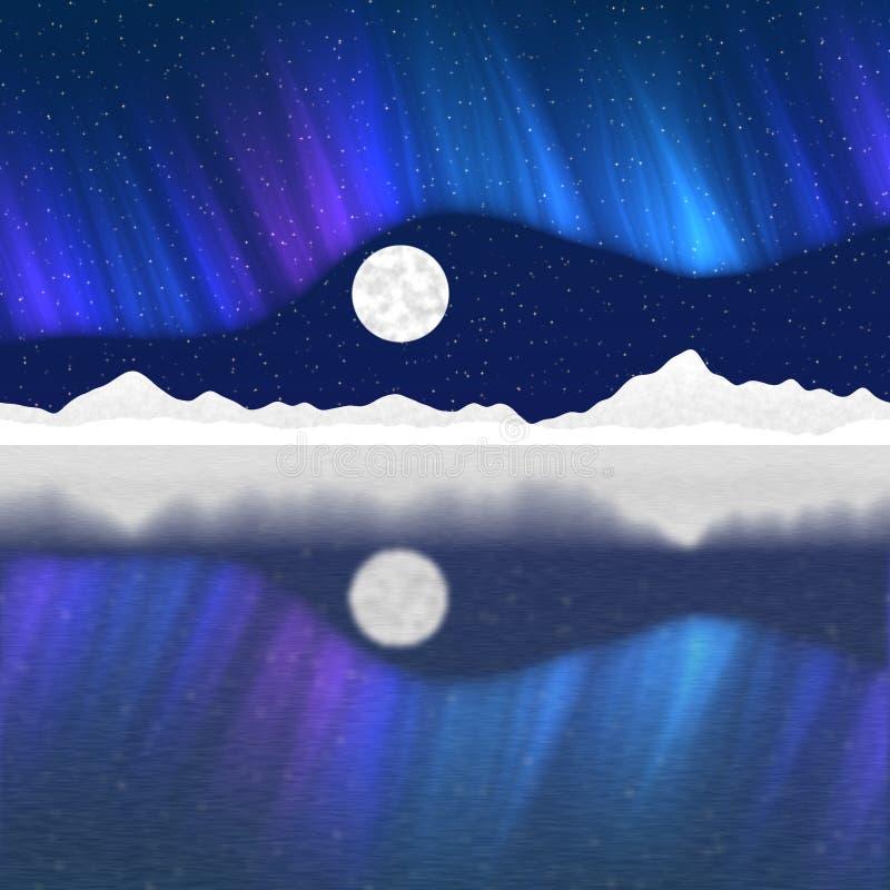 Il paesaggio artico del palo generato assume il fondo illustrazione di stock