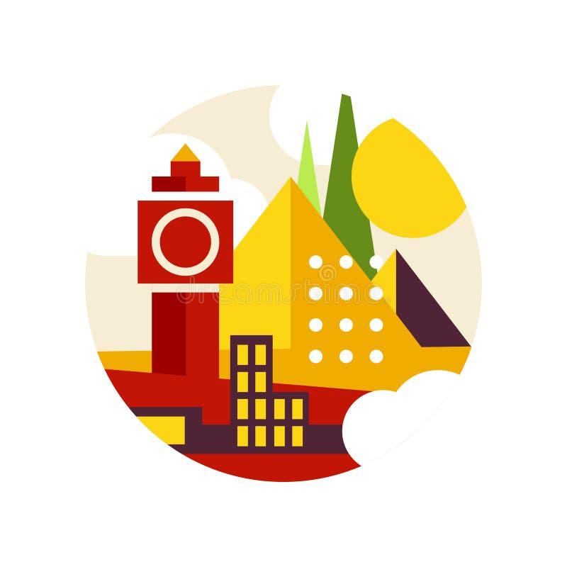 Il paesaggio creativo con la torre di orologio storica e le piramidi nel logo circondano, punti di riferimento architettonici fir illustrazione vettoriale