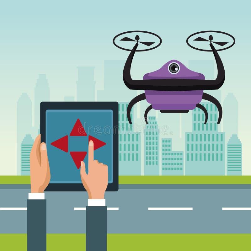 Il paesaggio del cielo con le costruzioni e la scena della via con la gente trattano il telecomando con il fuco porpora del robot illustrazione di stock