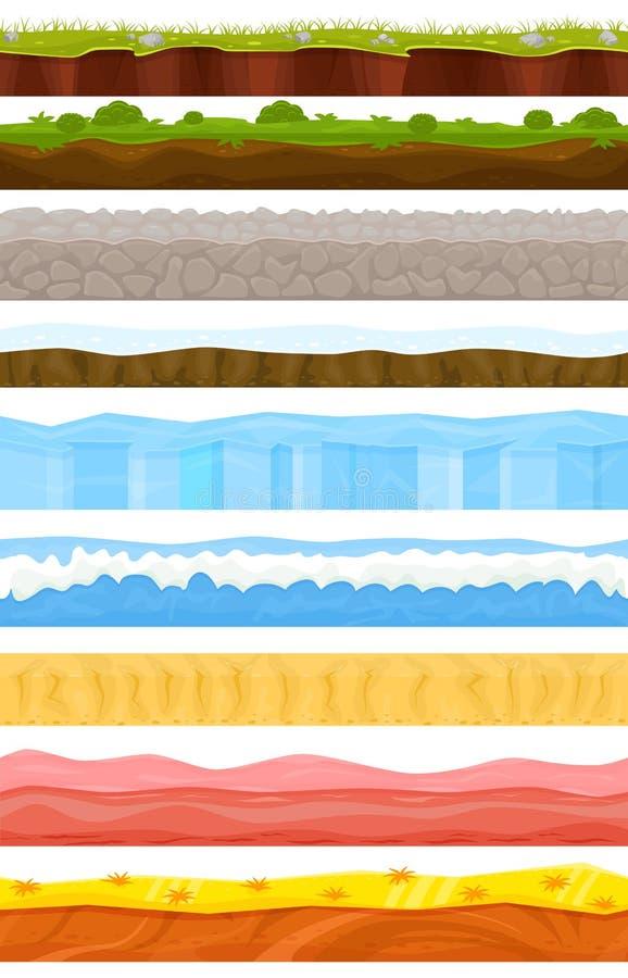Il paesaggio del fumetto di vettore del fondo del gioco in gamification dell'interfaccia dell'inverno o dell'estate e nella scena royalty illustrazione gratis