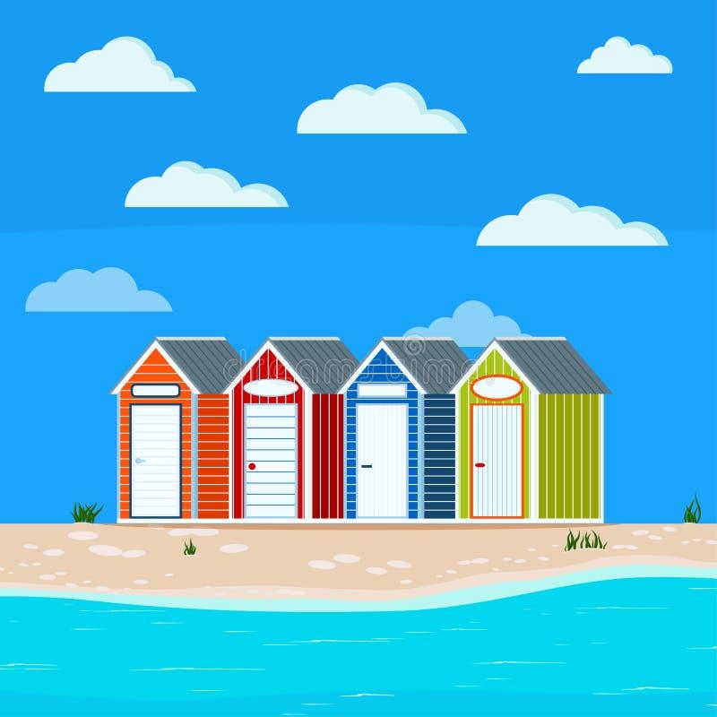 Il paesaggio del mare dell'estate con erba, le capanne, la sabbia, le pietre, le nuvole, blu sveglio, verdi, arancia, casa a stri illustrazione di stock