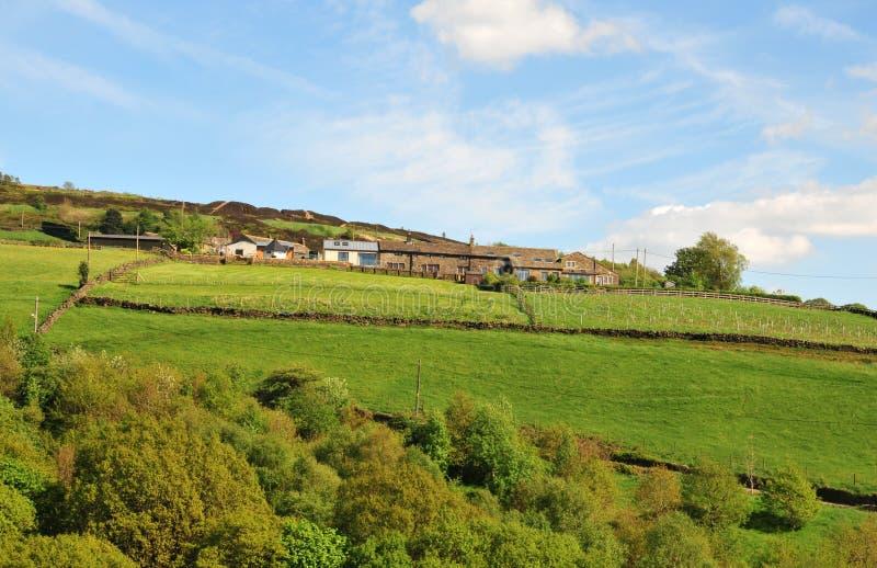 Il paesaggio delle vallate di West Yorkshire con le fattorie sulle alte colline con i campi murati tipici ed attracca nella dista fotografia stock