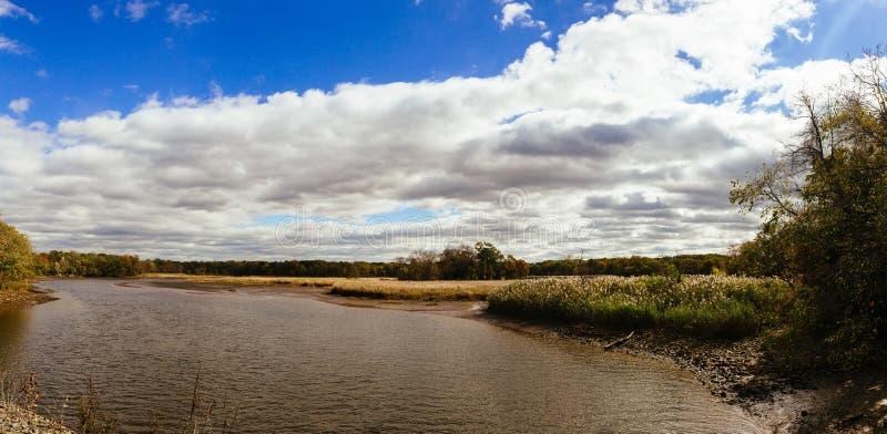 il paesaggio di autunno del fiume e degli alberi senza cielo blu delle foglie si appanna un giorno soleggiato fotografia stock libera da diritti