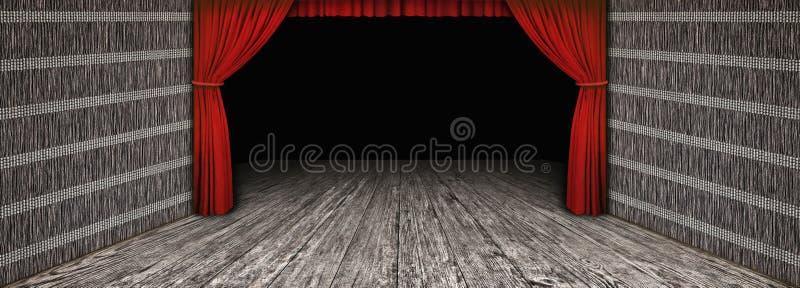 Il paesaggio di legno rustico di alta risoluzione del teatro con il lato ha piegato la tenda rossa ed ha scurito la fase vuota fotografia stock libera da diritti