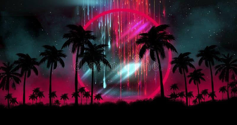 Il paesaggio di notte con le palme, contro il contesto di un tramonto al neon, stars Alberi del cocco della siluetta sulla spiagg illustrazione vettoriale
