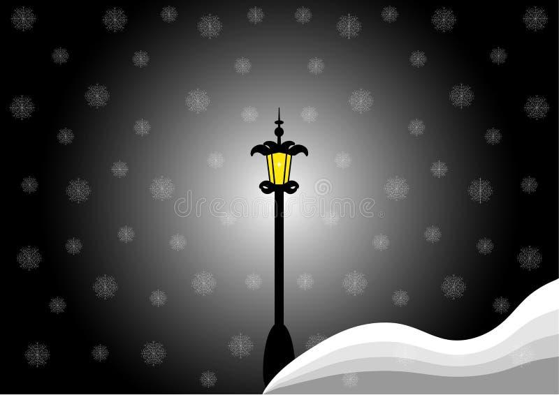 Il paesaggio di notte di inverno, la neve e la lampada di via illustrazione di stock