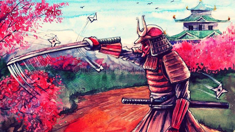 Il paesaggio giapponese dell'acquerello con la battaglia del samurai, l'arte della pittura di fantasia, arte asiatica disegnata a immagine stock