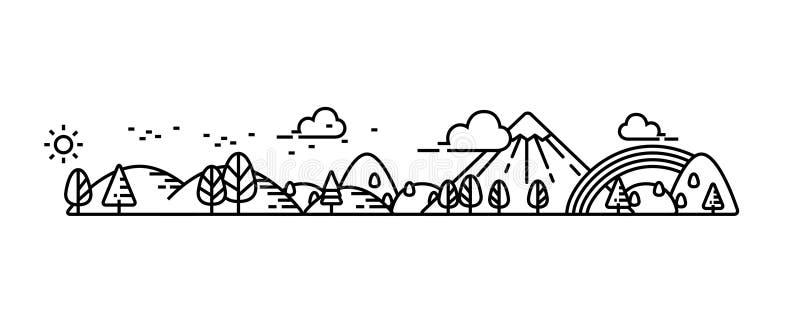 Il paesaggio illustra la linea illustrazione di stock