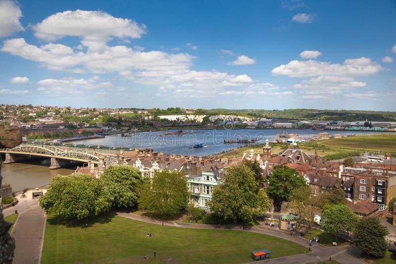 Il paesaggio intorno della città di Rochester include il fiume Risonanza e l'yacht club fotografia stock