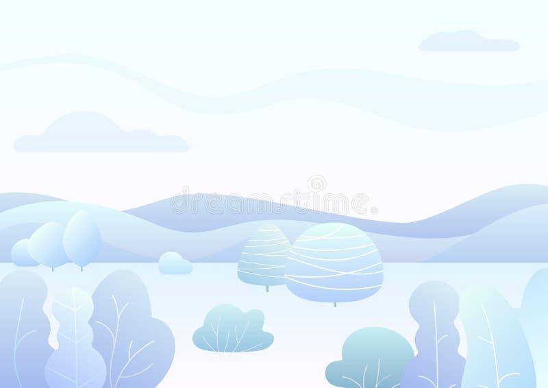 Il paesaggio semplice della foresta dell'inverno di fantasia con il fumetto ha curvato gli alberi, imbussola l'illustrazione d'av royalty illustrazione gratis