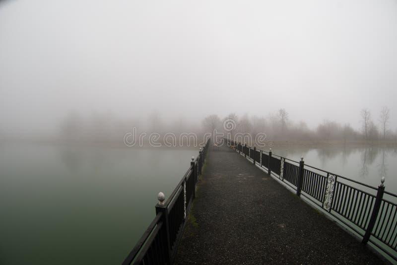 Il paesaggio stupefacente del ponte riflette su acqua di superficie del lago, la nebbia evapora dallo stagno fa la scena romantic fotografia stock