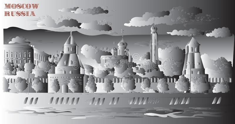 Il paesaggio urbano dell'argine del quadrato rosso delle torri di Cremlino e del fiume di Mosca, Mosca, Russia ha isolato l'illus royalty illustrazione gratis