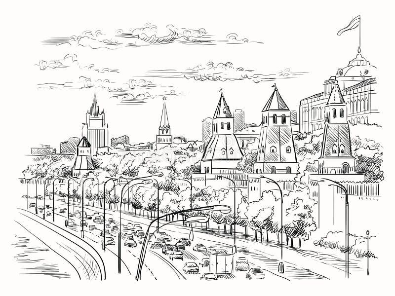 Il paesaggio urbano dell'argine del quadrato rosso delle torri di Cremlino e del fiume di Mosca, Mosca, Russia ha isolato l'illus illustrazione di stock