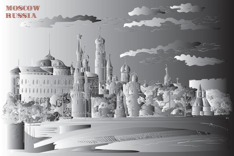 Il paesaggio urbano dell'argine delle torri e del ponte di Cremlino attraverso il quadrato rosso del fiume di Mosca, Mosca, Russi royalty illustrazione gratis