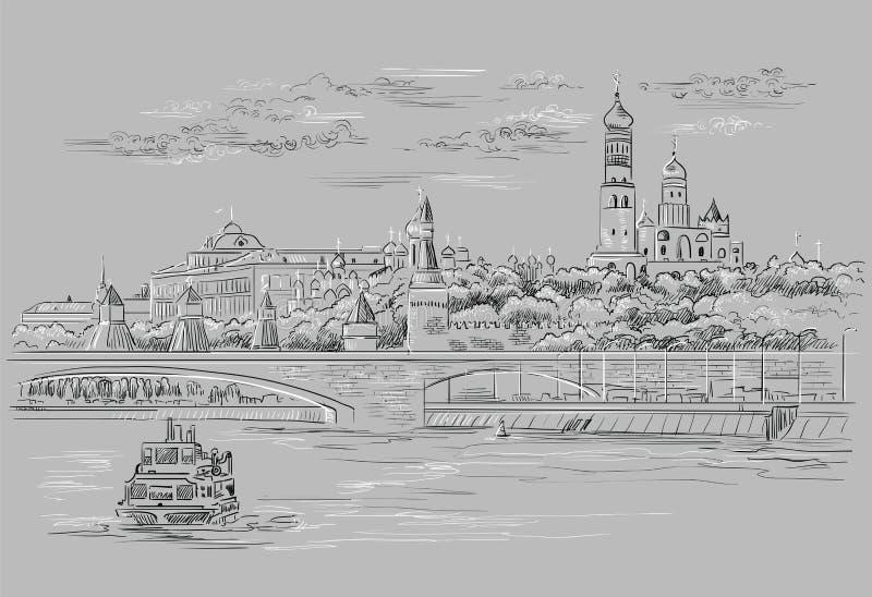 Il paesaggio urbano dell'argine delle torri e del ponte di Cremlino attraverso il quadrato rosso del fiume di Mosca, Mosca, Russi illustrazione di stock