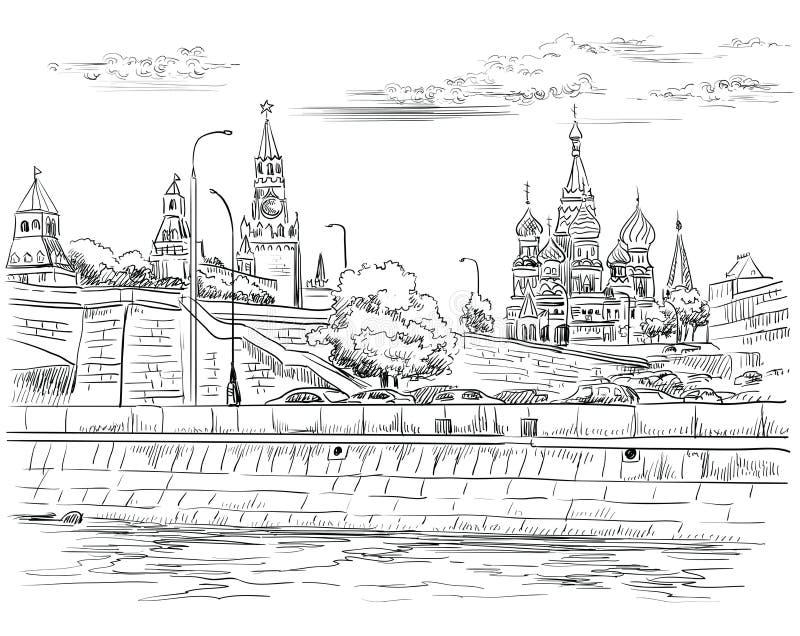 Il paesaggio urbano dell'argine delle torri e del ponte di Cremlino attraverso il quadrato rosso del fiume di Mosca, Mosca, Russi illustrazione vettoriale